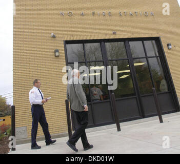 Oct. 25, 2011 - Clinton, Iowa, U.S. - Visitors to the renovated Chancy Fire Station in Clinton, Iowa, were greeted - Stock Photo
