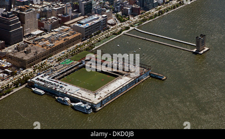 aerial photograph Pier 40, Hudson River Park, Manhattan, New York City - Stock Photo