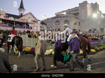 Nov. 5, 2011 - Louisville, KY, USA - Drosselmeyer and Mike Smith exit the paddock prior to the Breeder's Cup Classic - Stock Photo
