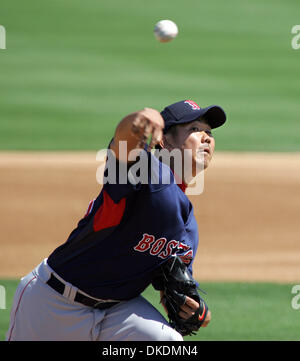 Mar 06, 2007 - Jupiter, FL, USA - Red Sox pitcher DAISUKE MATSUZAKA delivers against the Marlins during the first - Stock Photo