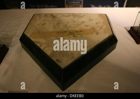 May 12, 2009 - Bronx, New York, USA - Field home plate 09/17/08 from the old Yankees stadium on display at the press - Stock Photo