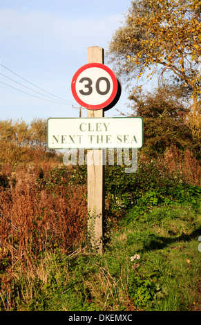 A 30 mph speed limit sign on entering Cley next the Sea, Norfolk, England, United Kingdom. - Stock Photo