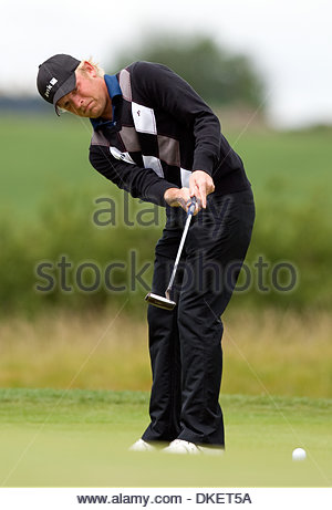 Jeppe Huldahl of Denmark putts on the first green..Day 4 The Celtic Manor Wales Open..Day 4 The Celtic Manor Wales - Stock Photo