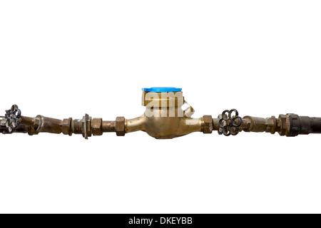 Installed Watermeter isolated on white Background - Stock Photo
