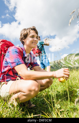 Young couple hiking, Tyrol, Austria - Stock Photo