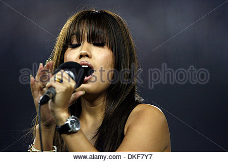 Filipino American singer Erika David sings God Bless America in the 7th inning during Los Angeles Dodgers St. Louis - Stock Photo