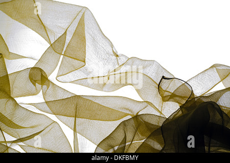 transparent tulle tissues on white background - Stock Photo