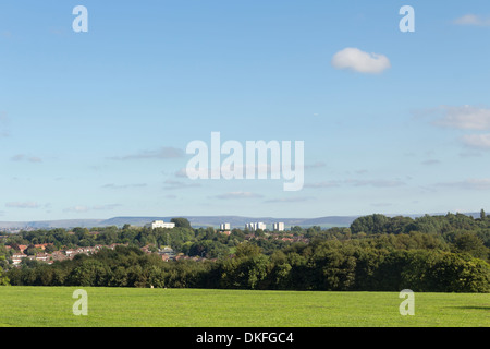 Heaton Park viewed from the front of Heaton Hall looking east over Blackley in north Manchester. - Stock Photo