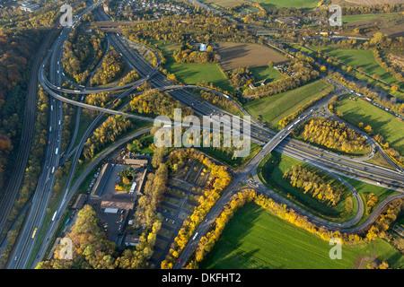 Autobahnkreuz Kaiserberg interchange, spaghetti junction, A3 motorway and A40 Ruhrschnellweg, aerial view, Duisburg, - Stock Photo