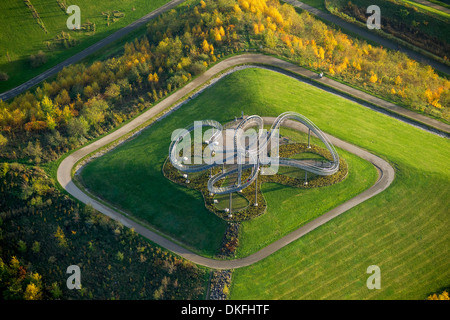 Tiger and Turtle Magic Mountain, Landmarke Angerpark park, aerial view, Duisburg, Ruhr area, North Rhine-Westphalia, Germany Stock Photo