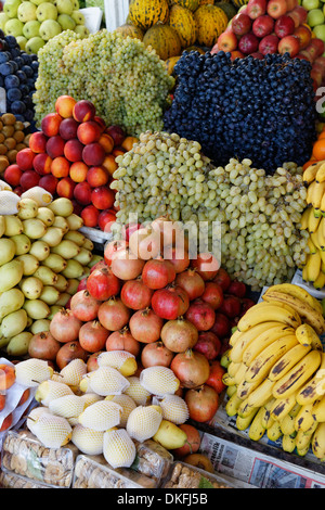 Fruits on sale at a market stall, Bodrum, Muğla Province, Aegean, Turkey - Stock Photo