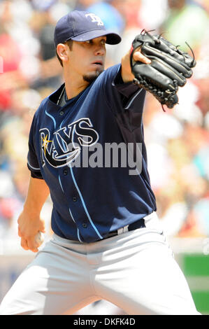 Jul 01, 2009 - Toronto, Ontario, Canada - MLB Baseball - Tampa Bay Rays starting pitcher JAMES SHIELDS (33) pitches - Stock Photo