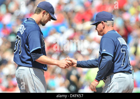 Jul 01, 2009 - Toronto, Ontario, Canada - MLB Baseball - Tampa Bay Rays starting pitcher JAMES SHIELDS (33) is pulled - Stock Photo