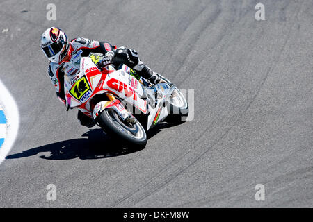 Jul 03, 2009 - Monterey, California, USA - RANDY DE PUNIET, of Maisons-Laffitte, France, rides the #14 motorcycle - Stock Photo