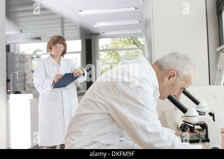 Scientists working in laboratory, man looking through microscope and woman taking notes - Stock Photo