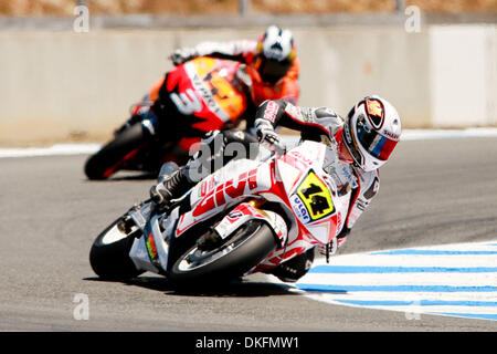 Jul 04, 2009 - Monterey, California, USA - RANDY DE PUNIET, of Maisons-Laffitte, France, rides the #14 motorcycle - Stock Photo