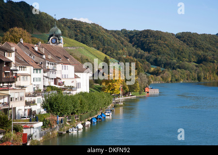 eglisau, rhine river, canton zurich, switzerland - Stock Photo