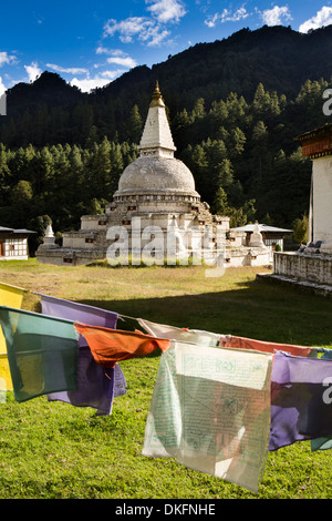 Bhutan, Pele La Pass, Chendebji Buddhist Chorten beside Trongsa to Pele La road - Stock Photo