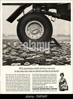 1960s vintage magazine advertisement advertising PAKISTAN INTERNATIONAL AIRLINES - Stock Photo