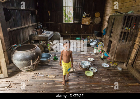 Inside a house in the village of Angkor Ban, on the banks of the Mekong River, Battambang Province, Cambodia, Southeast - Stock Photo