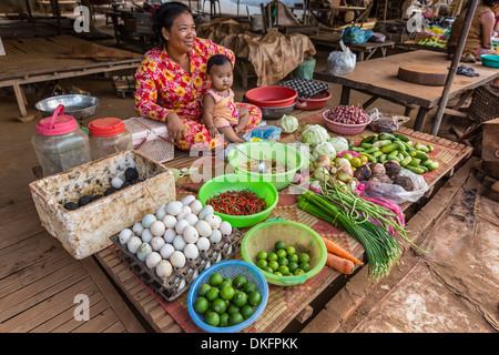 Local market in the village of Angkor Ban, on the banks of the Mekong River, Battambang Province, Cambodia, Southeast - Stock Photo