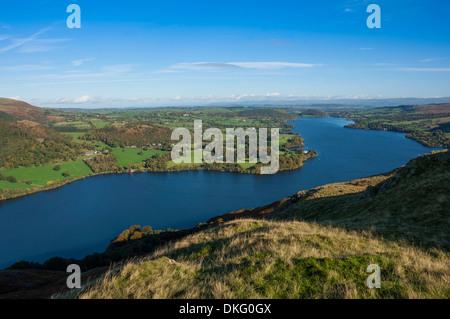 Lake Ullswater from Hallin Fell, Lake District National Park, Cumbria, England, United Kingdom, Europe - Stock Photo