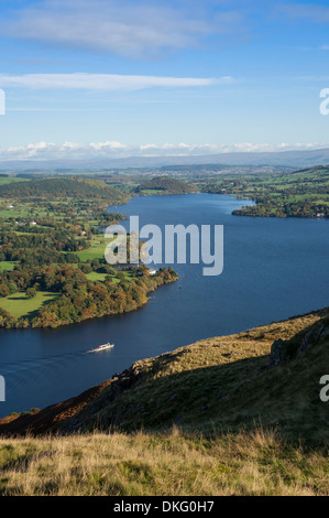 View from Hallin Fell over Lake Ullswater, Penrith, Lake District National Park, Cumbria, England, United Kingdom - Stock Photo