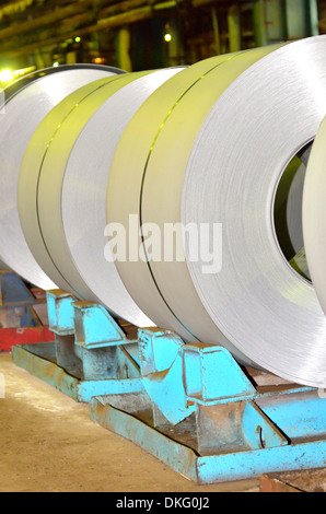 sheet rolls in warehouse shoot inside of plant - Stock Photo