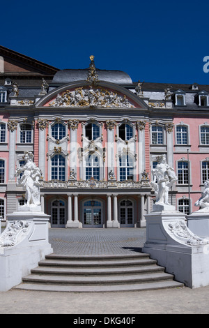 portal of the electoral palace with palace garden, trier city, trier, rhineland-palatinate, germany, europe - Stock Photo