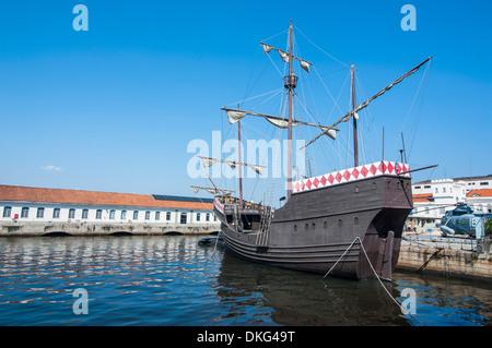 Old schooner in the harbour of Rio de Janeiro, Brazil, South America - Stock Photo