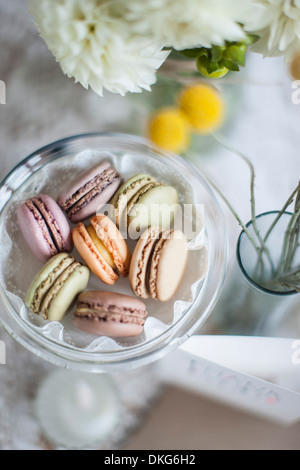 Still life of macaroons with flowers and decoration - Stock Photo