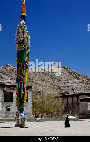 Courtyard in Palcho Monastery, Gyantse, Tibet, China, Asia - Stock Photo