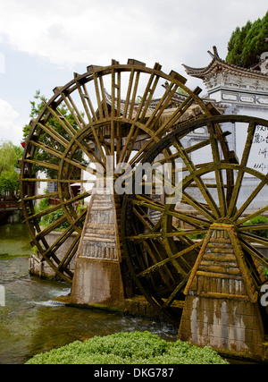 Water mill in the Old Town, Lijiang, UNESCO World Heritage Site, Yunnan Province, China, Asia - Stock Photo