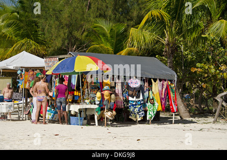 Market stall at beach, Jolly Beach, Antigua, Lesser Antilles, the Caribbean, America - Stock Photo