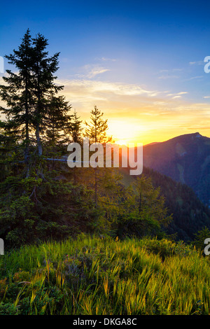 Sunrise above the Lammertal, Salzburg State, Austria - Stock Photo