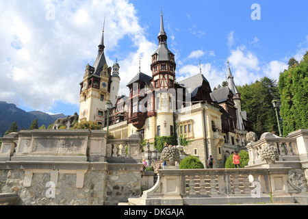 Beautiful, magical Peles Castle or Palace, in Sinaia, near Brasov, Romania, in Eastern Europe - Stock Photo