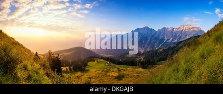 Sunrise above the Salzach Valley, Salzburg State, Austria - Stock Photo