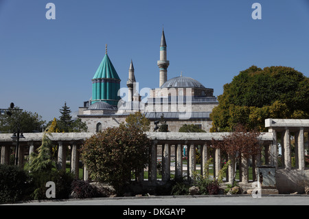 The Museum and Mausoleum of Mevlana, founder of the Whirling Dervishes sect, Konya, central Turkey - Stock Photo