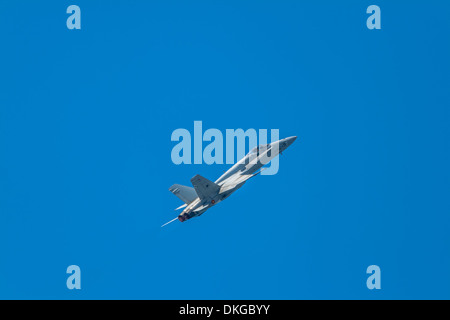 Aircraft F-18 Hornet taking part in an exhibition on the 1st airshow of Cadiz - Stock Photo