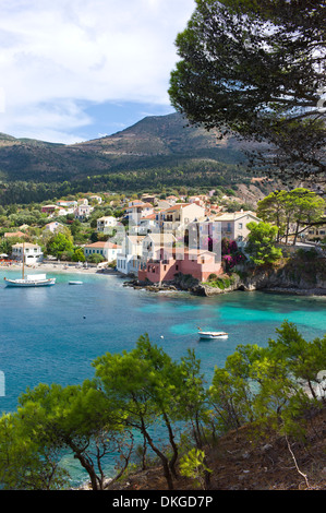 Overlooking the harbour and town of Assos, Kefalonia, Greece - Stock Photo