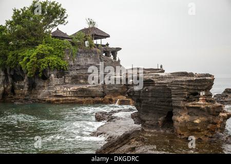 View onto the Temple Pura Tanah Lot, Bali, Indonesia - Stock Photo