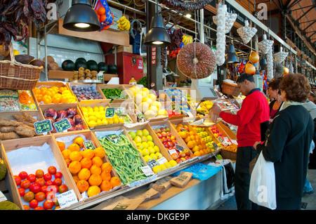 Fruit shop. San Miguel market, Madrid, Spain. - Stock Photo