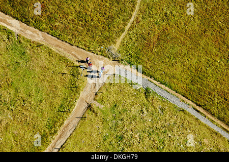 Hikers at Feldberg, Baden-Württemberg, Germany, aerial photo Stock Photo