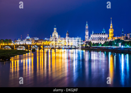 Dresden, Germany above the Elbe River. - Stock Photo