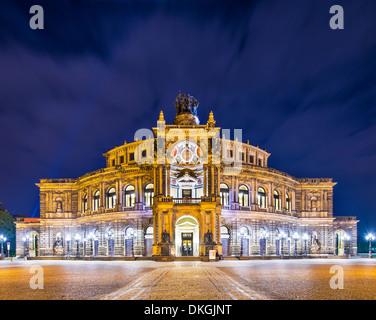Dresden, Germany at Theaterplatz. - Stock Photo