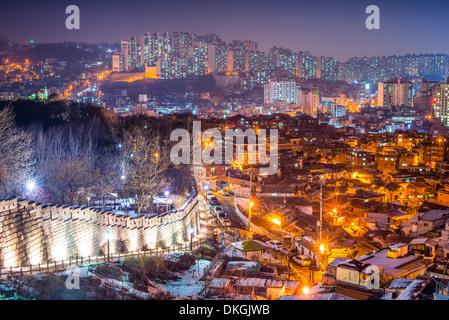 Seoul, South Korea at Naksan Park and the old city wall. - Stock Photo