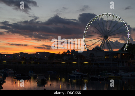 Torquay Harbour at Twilight with  Big Wheel - Stock Photo
