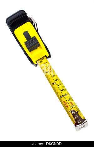 A tape measure on a white background. - Stock Photo