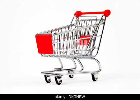 Shopping Trolley over a plain white background. - Stock Photo