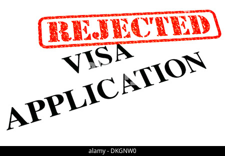 A close-up of a REJECTED Visa Application document. - Stock Photo